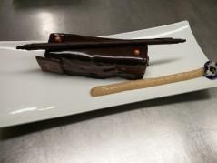 Fin gâteau Chocolat au lait, Caramel banane, Citron vert
